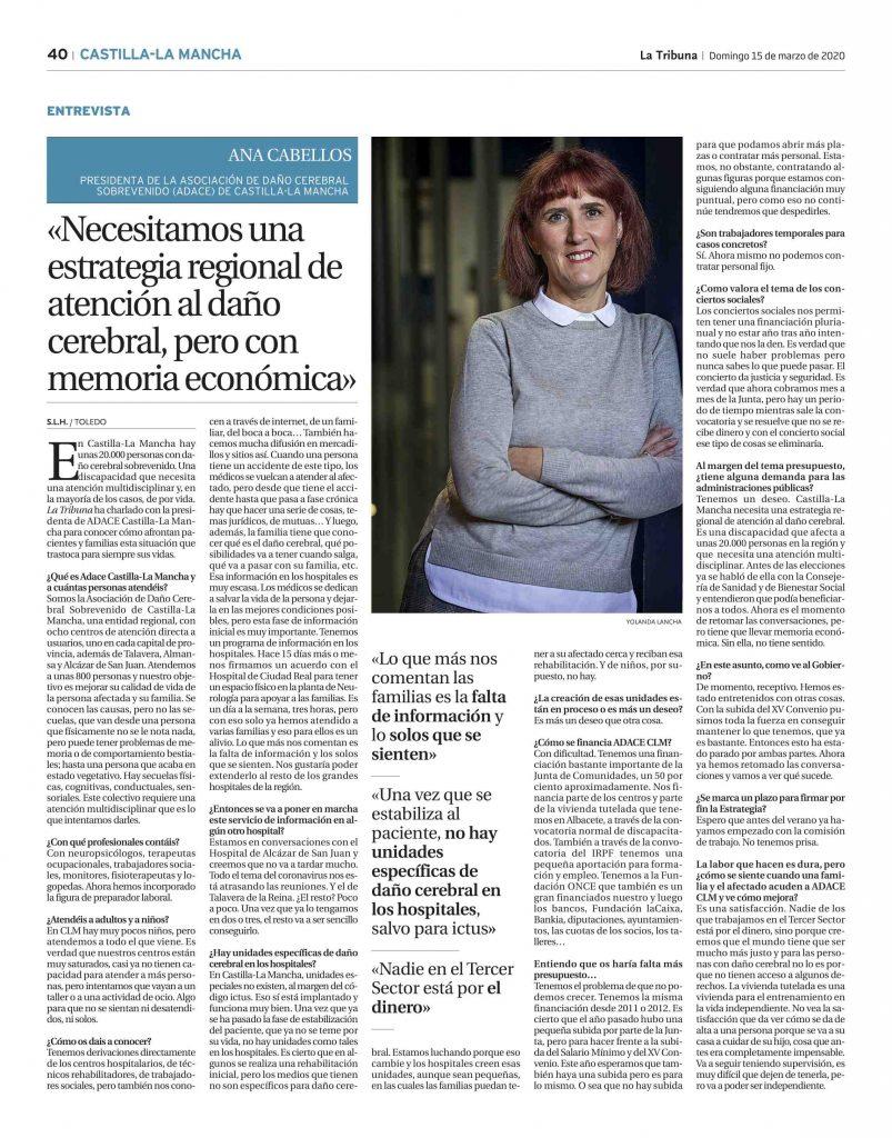 Entrevista a la presidenta de ADACE CLM en La Tribuna de Toledo formato imagen