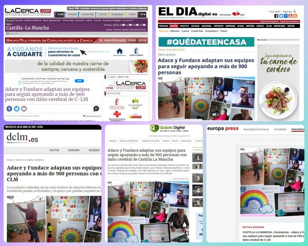Cobertura de los medios de comunicación sobre la labor que desde ADACE y FUNDACE realizamos con motivo de la crisis del coronavirus