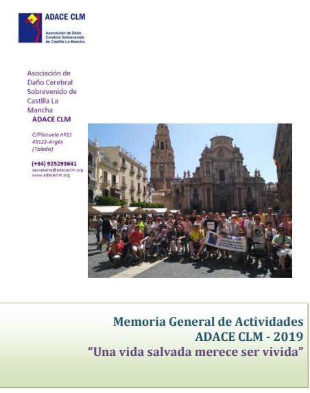 Portada de la Memoria General de Actividades de ADACE CLM 2019